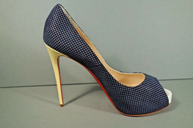 premium selection b4620 c3f04 Louboutin 38/7.5 Very Prive Navy Polka Dot Platform PUMPS Yellow HEELS Shoes