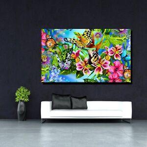 leinwand bild poster xxl pop art graffiti blumen bunt s w abstrakt bis 150x90 ebay. Black Bedroom Furniture Sets. Home Design Ideas