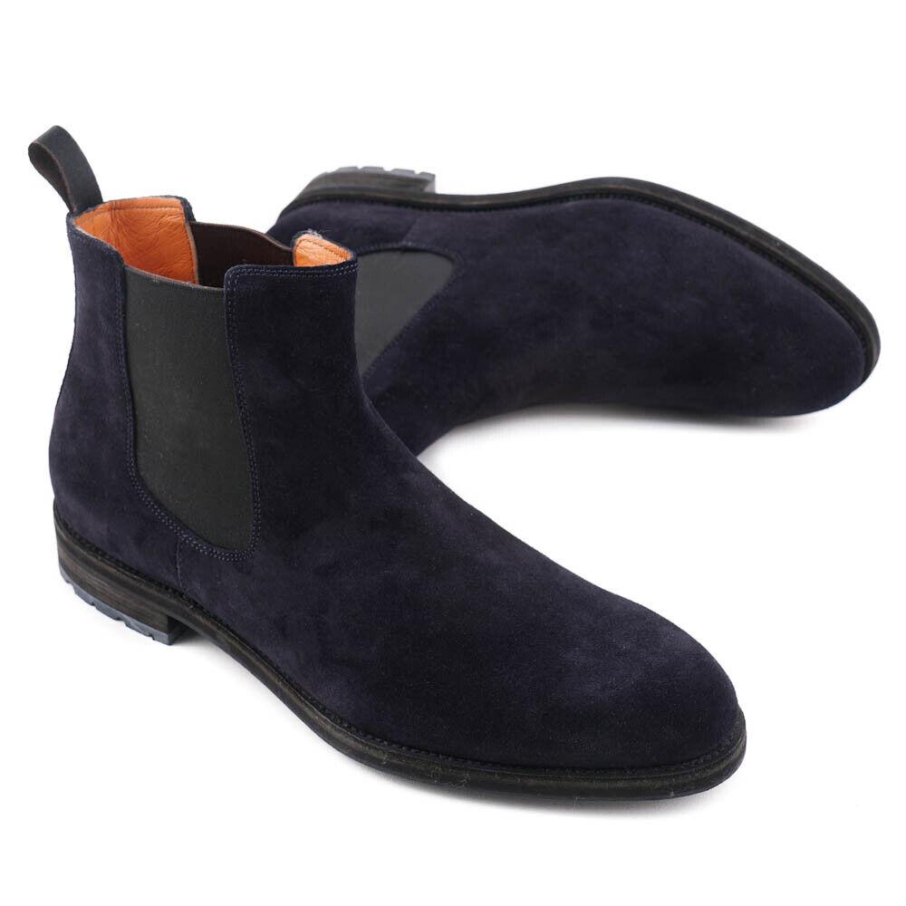Nuevo En Caja  SANTONI Becerro Azul Marino Ante Chelsea botas al Tobillo Zapatos US 7