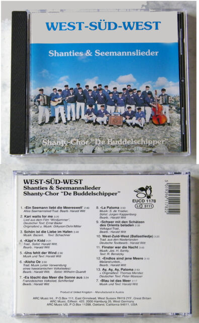 "SHANTY-CHOR ""BUDDELSCHIPPER"" West-Süd-West Shanties & Seemannslieder .. CD TOP"