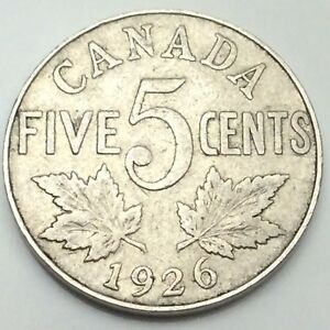 1926-Near-Six-Canada-Large-5-Five-Cents-Nickel-Circulated-Canadian-Coin-D437