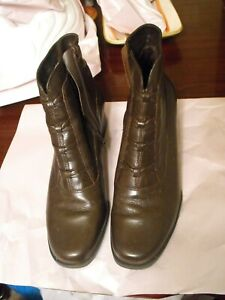 b4e4369f274 Details about Laura Scott Bethany Womens Ankle Boots Zipper Block Heel  Leather Brown Size 8.5M