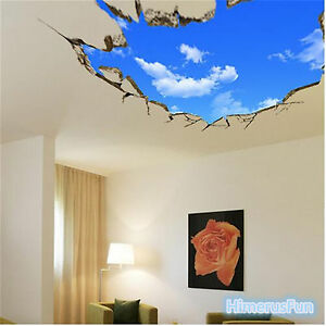 Sky 3d broken wall mural removable wall sticker art vinyl for 3d mural wall art