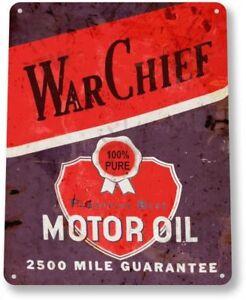 War-Chief-Motor-Oil-Garage-Gas-Service-Retro-Vintage-Wall-Decor-Metal-Tin-Sign