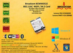 Broadcom-BCM94352Z-M-2-NGFF-802-11AC-867Mbps-BT4-0-Lenovo-FRU-04X6020-Hackintosh