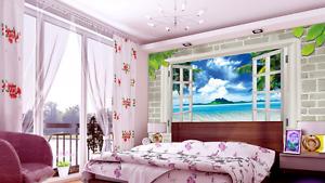 3D Windows Beach Flowers 064 Wall Paper Wall Print Decal Wall AJ WALLPAPER CA