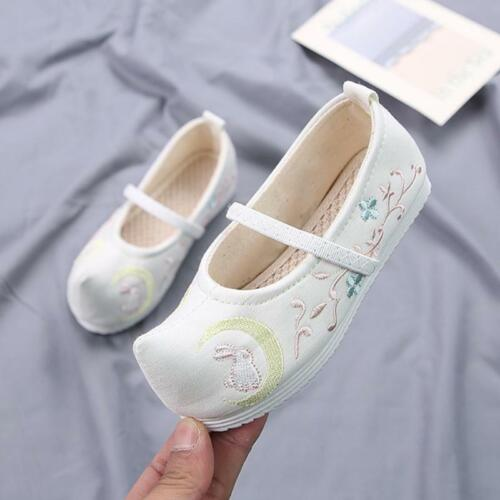 Ancient Girl Child Embroidered Cloth Shoes Old Beijing Hanfu Dance Shoes 4-12Y