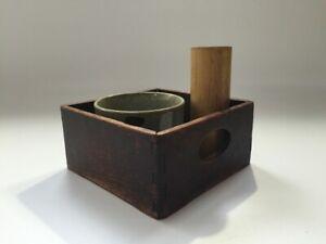 Japanese-Wooden-Tobacco-Tool-Set-Vtg-Bamboo-Pottery-Ash-Tray-Karatsu-Ware-R215