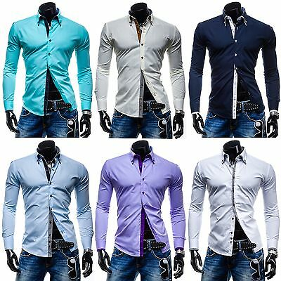 Modely Herren Hemd Langarm Shirt Men Wear Casual Motiv Polo MIX 2B2 Freizeit
