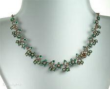 PILGRIM Bird & Pearl Necklace SWALLOW FLOWER Copper/Topaz Brown Swarovski BNWT