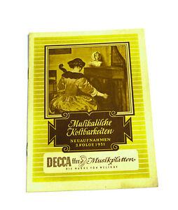Sonstige Aggressiv Decca Musikalische Kostbarkeiten Neuaufnahmen 3.folge 1951 Katalog k94 Schellack