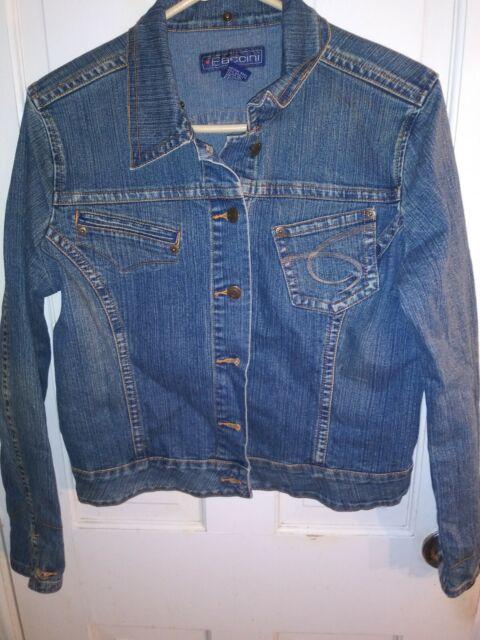 Baccini Denim Jacket Button Front Womens Sz L Wash Long Sleeve Jeans Buckle Back