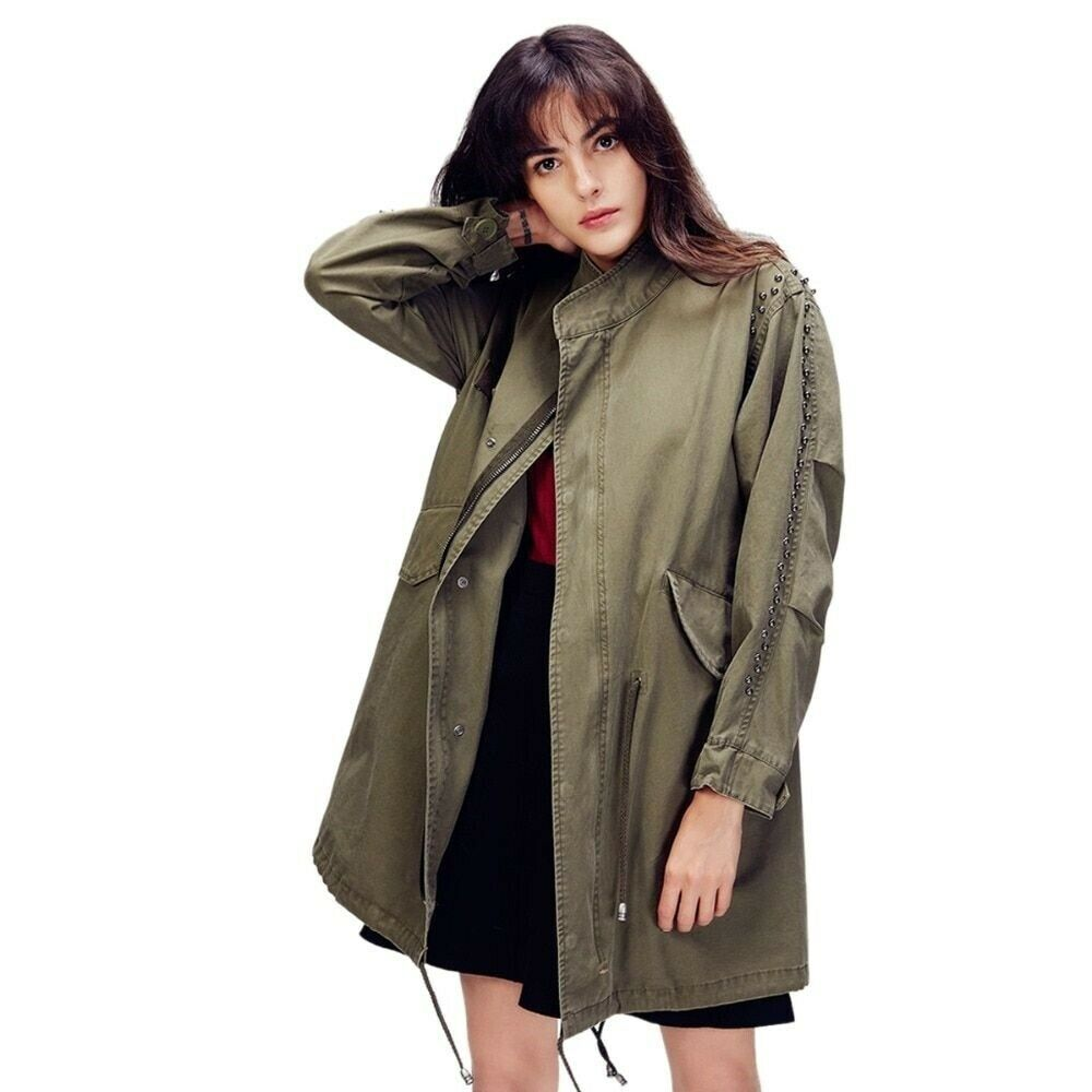 kvinnor Loose Coat Cotton Twill Sequined bred -Waist Trench Solid Casual Outwerwear