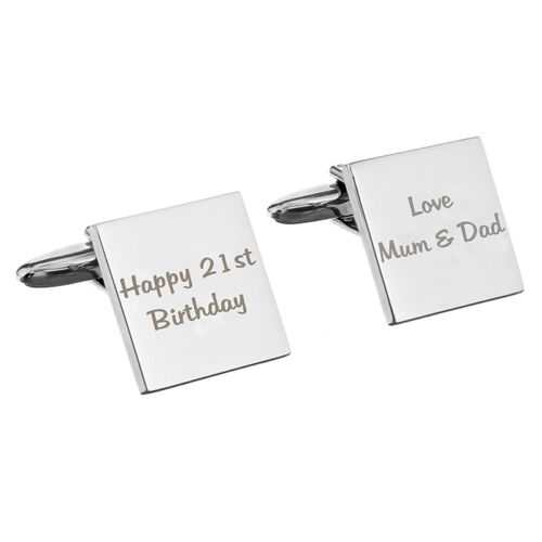 Personalised Any Message Square Cufflinks 2 lines For Men Birthday Wedding Gif