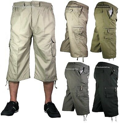 Mens 3/4 Summer Shorts Elasticated Waist Cargo Combat Three Quarter Holiday Pant