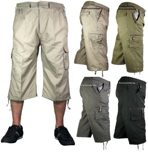 Herren 3//4 Sommer Shorts Elastischer Bund Cargo Combat dreiviertel Holiday Hose