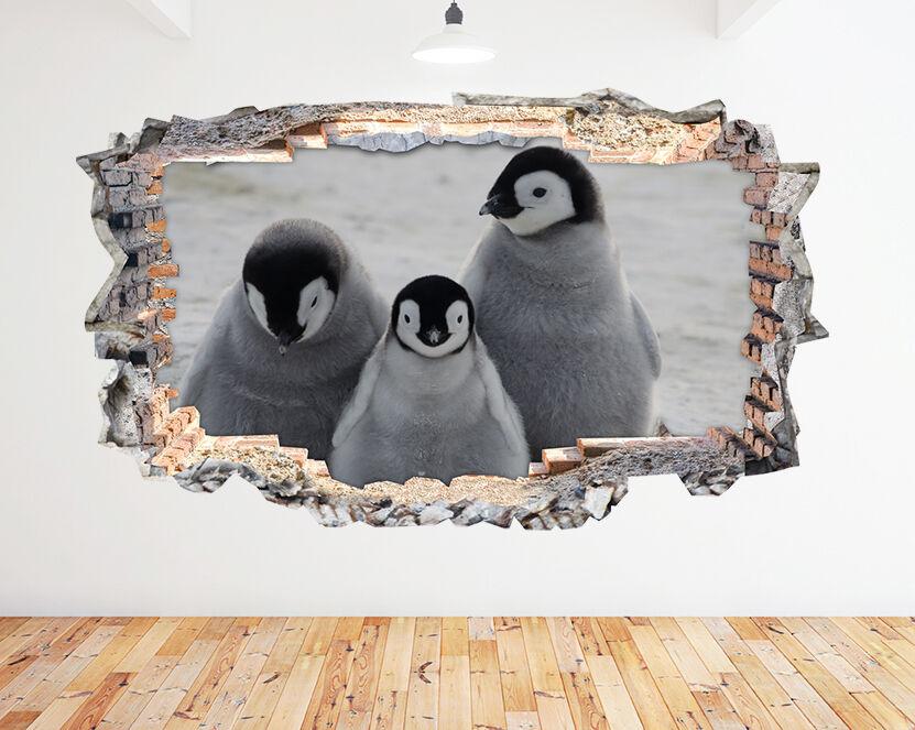 N747 bebé Pingüinos Cute Animals Smas pegatina pared vinilo 3d habitación niños