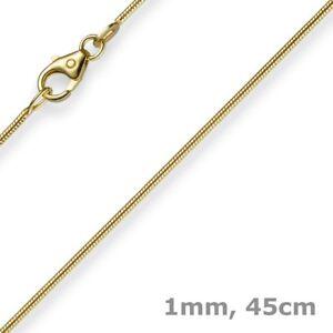 1mm-Kette-Collier-Schlangenkette-aus-585-Gold-Gelbgold-45cm-Damen-Goldkette