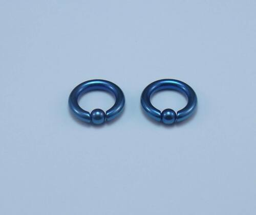 1 Pair 6g 7//16  Inch Blue Anodized Surgical Steel Captive Bead Ring