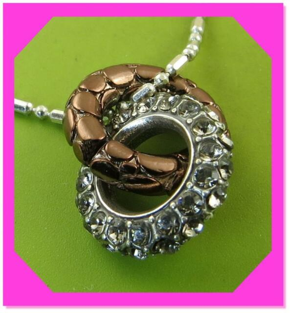 BRIGHTON PEBBLE PAVE CHOCOLATE Brown Mini Ring Crystal Pendant Necklace NWotag