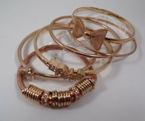 Set-of-6-ROSE-GOLD-Tone-Bracelets-Crystal-Bangle-Stretch