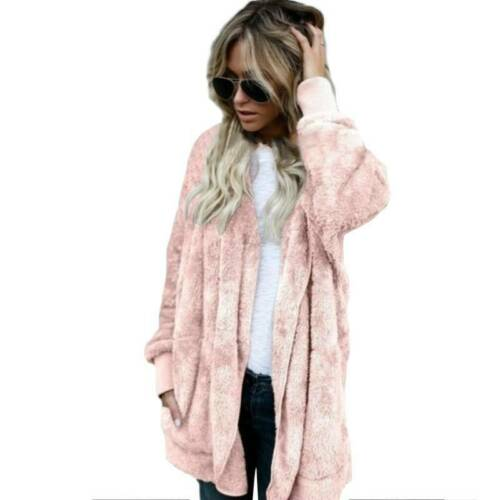 Womens Winter Hoodies Teddy Bear Fleece Fur Coat Jacket Hooded Pullover Sweater