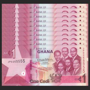 Lot-10-PCS-Ghana-1-Cedi-2019-P-NEW-UNC