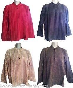 NUEVO-100-Comercio-Justo-Algodon-Caballeros-a-rayas-Abuelo-Camisa-De-Nepal-Solo