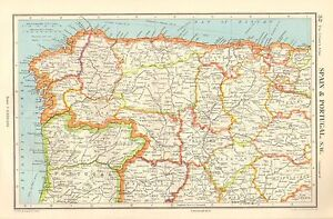 Map Of North West Spain.Details About 1952 Map Spain Portugal North West Asturias Leon Zamora Valladolid