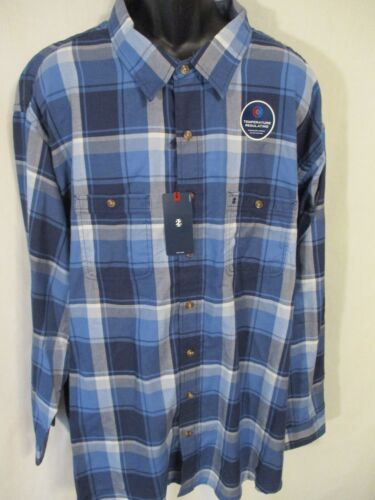 Izod Cotton Blnd BIG TALL Blue Plaid Temp Controlled Long Slve Shirt SR$60 NEW