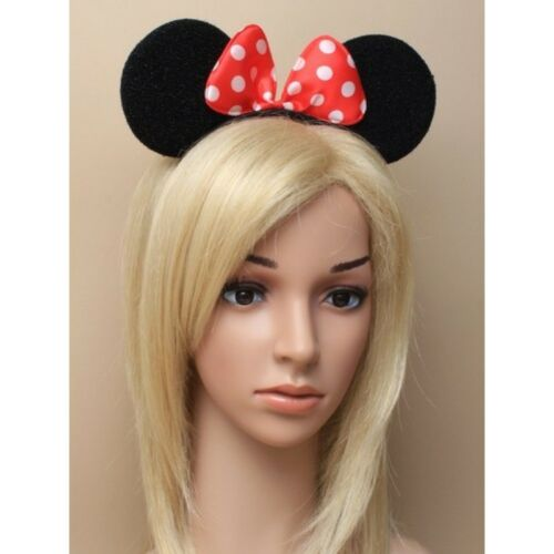 Black Minnie Mouse Ears with Red satin bow /& white Polka Dots On Alice Headband