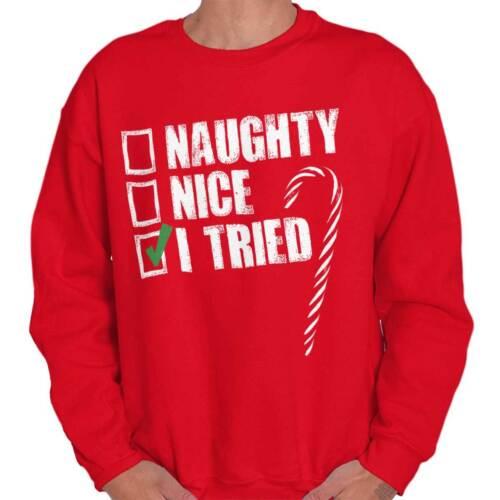 Nice Naughty I Tried Christmas Gift Funny Santa Claus Xmas Pullover Sweatshirt