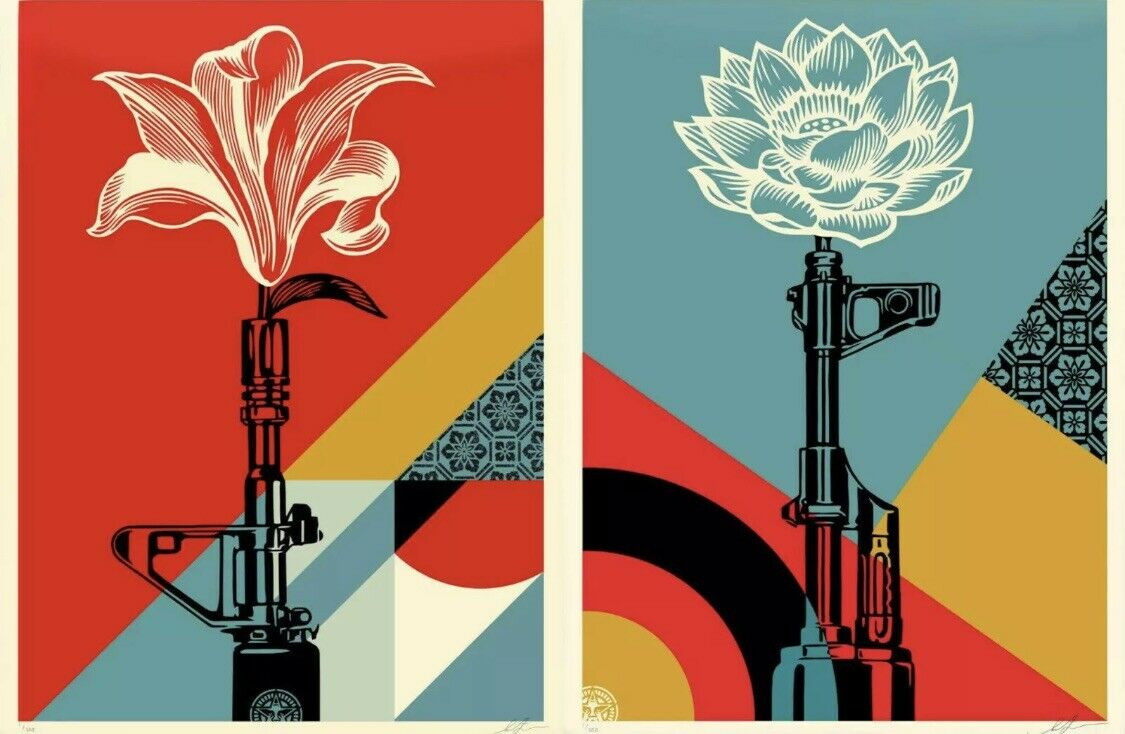 AK-47 Lotus and AR-15 Lily Art Prints by Shepard Fairey OBEY Giant Poster Set on eBay thumbnail