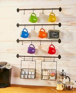Wall-Mounted-Coffee-Mug-Rack-K-Cup-Basket-Holder-Organizer-Steel-Kitchen-Storage