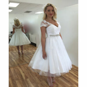 945a8940244a New V-neck White/Ivory Lace Tea Length Wedding Dress Stock Size 6 8 ...
