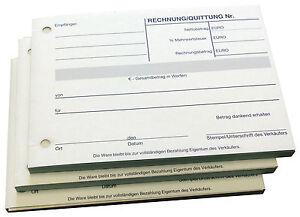 20x Quittungsblock - Quittungen -  A6 quer gelocht -100 Blatt - NEU (22297)