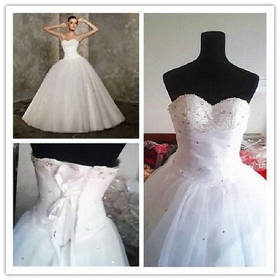 White Bridal Gown Prom Ball Deb Evening Wedding Dress Quinceanera Party Custom