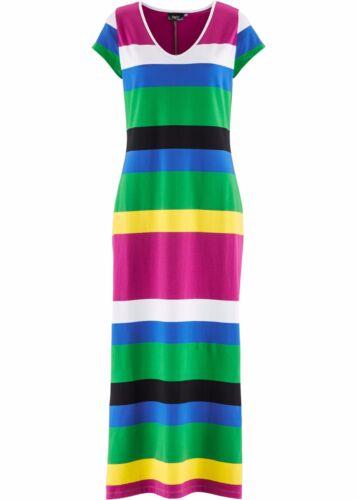 34 NEU Damen Gestreift Shirt Kleid Dress Rundhals Sommer Garten Bunt Größe 32