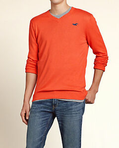 Image is loading HOLLISTER-by-A-amp-F-V-Neck-Sweater-Orange-