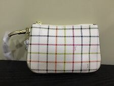 COACH WRISLET - SIGNATURE CHECKERED LEATHER SMALL WRISTLER, WHITE LEATHER