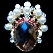 Fashion RING opera mask Vintage Retro finger glaze gold face alloy gemstone NEW