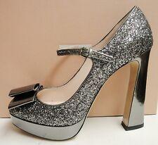 Miu Miu Prada Leather Glitter Peep Toe Bow Heel Platform Pumps Shoes 41