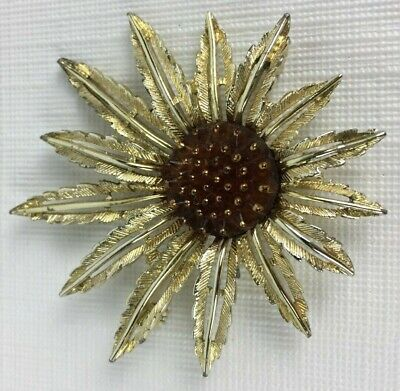 Vintage Signed Sarah Cov Coventry Large Gold Tone /& Pearl Sunburst Sun Flower Brooch Pin