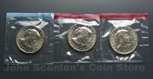 1980 P,D/&S Susan B Anthony Dollars 3-Coin Set BU In Mint Cello