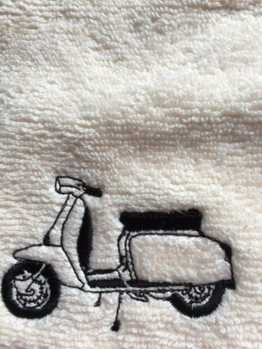 Personalised embroidered face flannel,Lambretta scooter design £3.99 Free P/&P