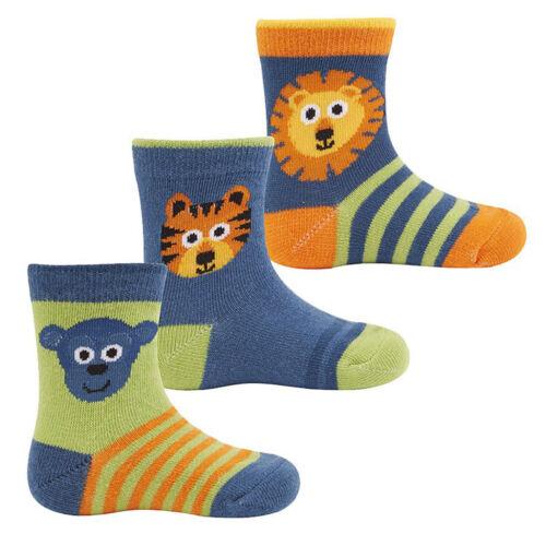 3 Pairs Baby Boys Fox Monkey Lions Socks Pack Of 3 Design Socks 0-0 0-2.5 44B639