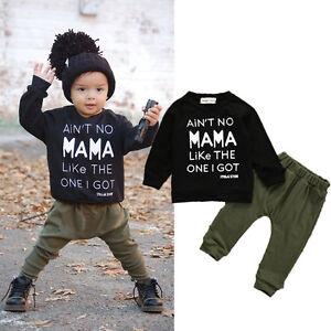 7eedf32b2 2PCS Kids Baby Toddler Boy Clothes Set T-shirt Tops Pants Leggings ...