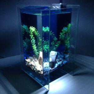 Nano-Aquarium-Glas-Komplettset-SMARAGD-LED-Leuchte-Pumpe-Kies-Stein