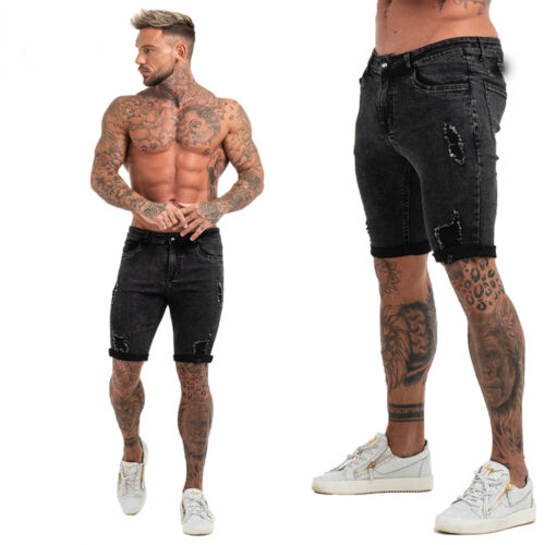 Gingtto Skinny Fit Men Denim Shorts Jeans Summer Distressed Ripped Washed Pants