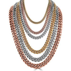 Curb-Miami-Cuban-Link-Chain-14k-Gold-Plated-24-034-amp-30-034-5mm-10mm-Hip-Hop-Necklace